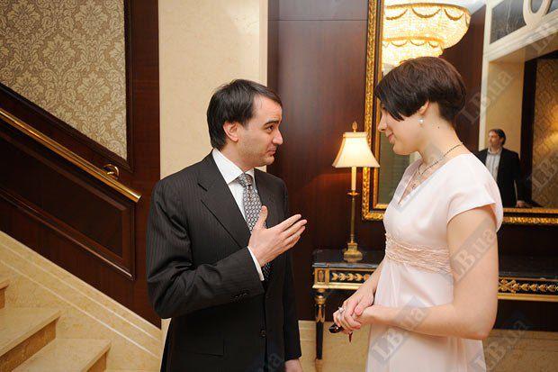 Председатель Федерации футбола Днепропетровской области Андрей Павелко и шеф-редактор Lb.ua Соня Кошкина