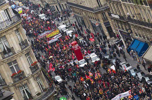 Протест рабочих во Франции