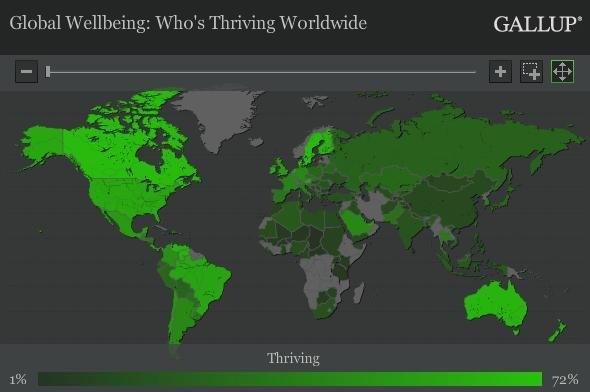 Уровень балгополучия - от низкого(темно-зеленый цвет) к высокому - (светло-зеленый)