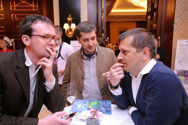 Слева направо: Петр Погоржельский, информационное агентство Польского радио; Перт Андрусечко, «Украинский журнал», Ярослав Юнко, польское пресс-агентство в Киеве