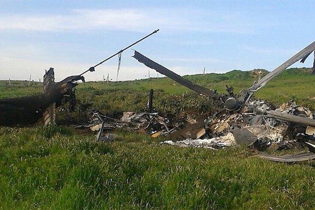Обломки подбитого азербайджанского вертолета МИ-24