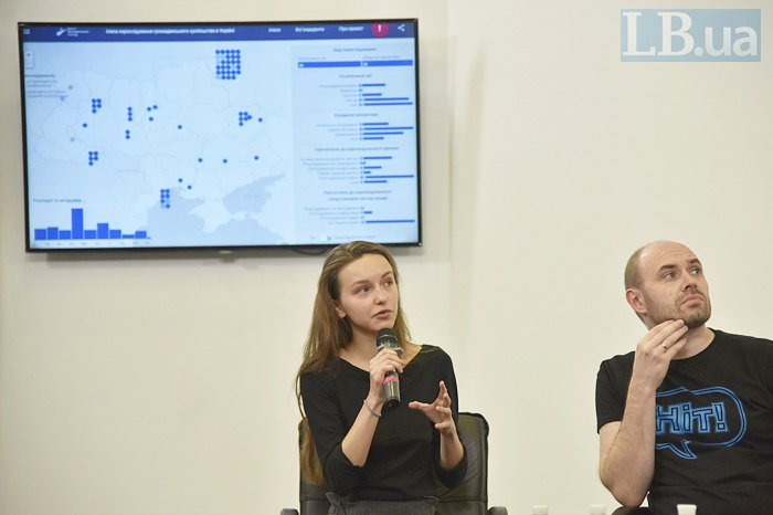Любов Галан та Данило Мокрик під час презентації інтерактивної карти
