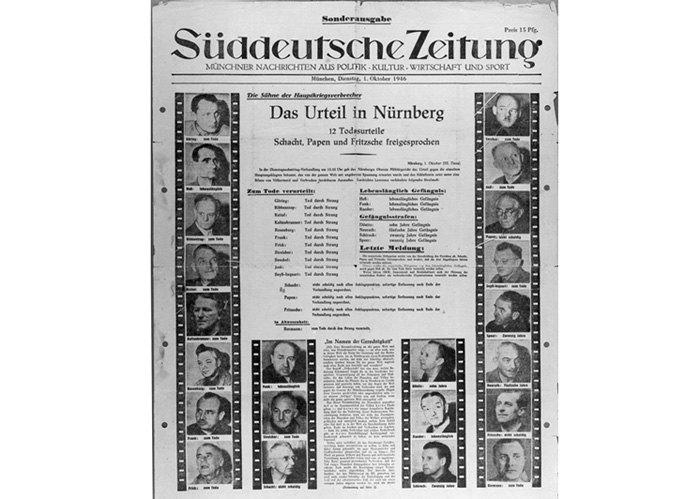 Повідомлення про вирок Нюрнберзький трибунал. Süddeutsche Zeitung. 1 жовтня 1946 р