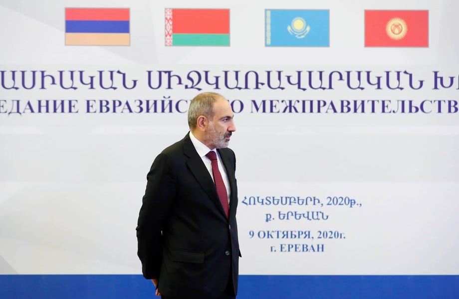 Никол Пашинян перед заседанием межправительственного совета Евразийского экономического союза в Ереване, 9 октября 2020