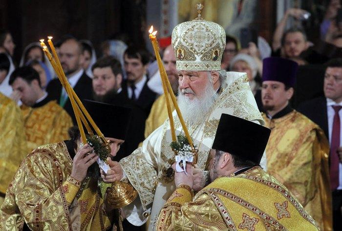 Патриарх Кирилл во время службы в Храме Христа Спасителя в Москве, 6 января 2019.