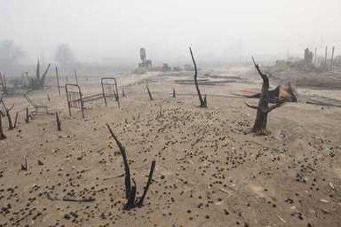 В России жители уничтоженной пожаром деревни откопали спиртное в подвале сгоревшего магазина