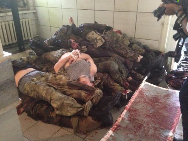 Трупы боевиков в морге в Донецка