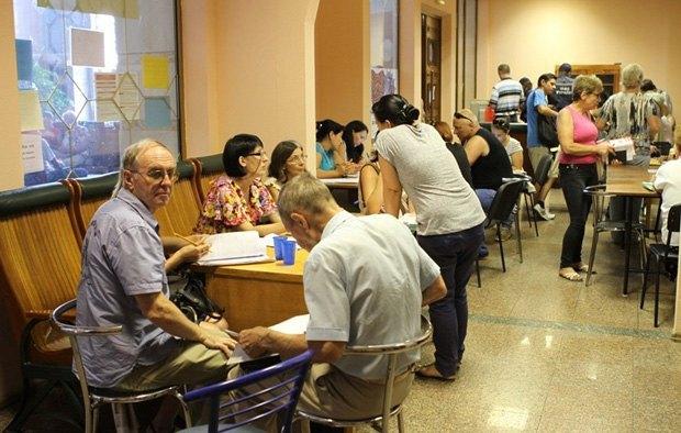 Центр помощи переселенцам на вокзале в Киеве.
