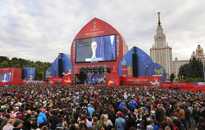 Во время церемонии открытия FIFA Fan Fest в Москве, 10 июня 2018.