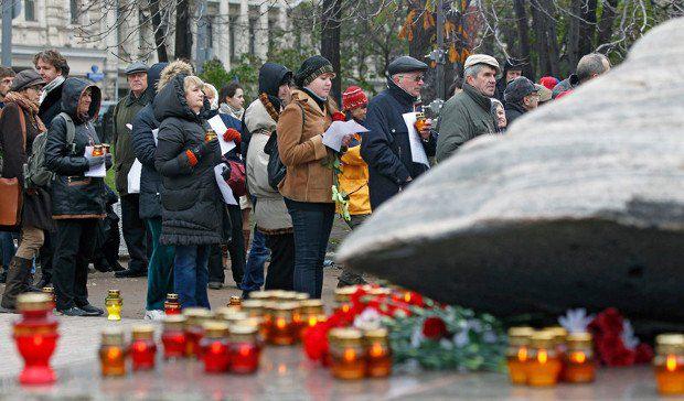 Митинг у памятника репрессированным - Соловецкого камня - в Москве