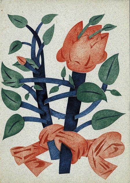 Ліва частина ескізу обкладинки одеського журналу «Театруда». 1920. Папір, гуаш. 34х50