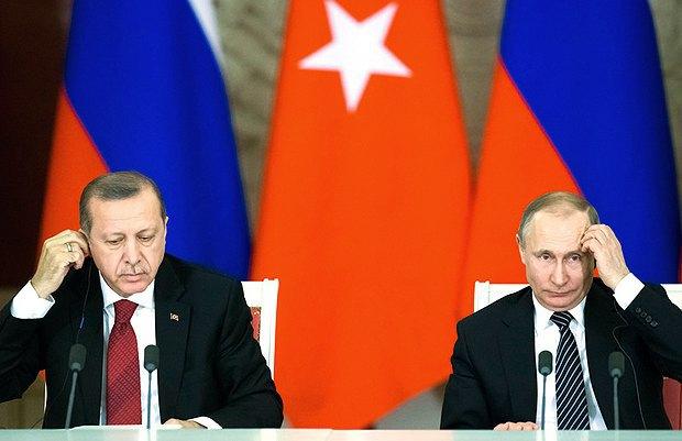 Владимир Путин и Реджеп Тайип Эрдоган во время пресс-конференции в Кремле, 10 марта 2017.