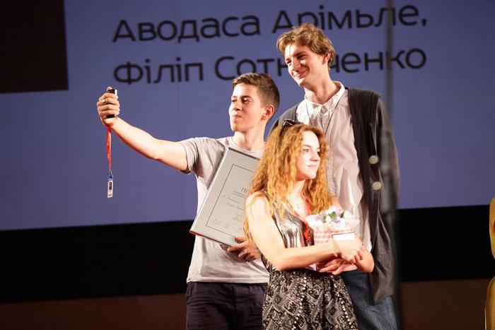 Валерия Кальченко, Антонио Лукич и Андрей Лидаговский на вручении призов нацконкурса ОМКФ-2016