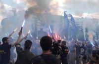 В Киеве националисты разрисовали ТРЦ Ocean Рlaza