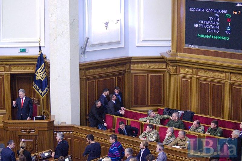 Рада приняла законопроект о введении военного положения в отдельных регионах