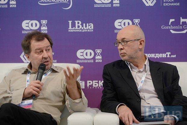 Сергей Дацюк, философ, теоретик и Сергей Проскурня(справа), режиссер, продюсер