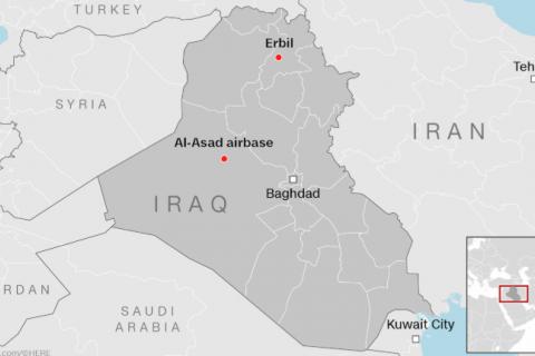 Мапа атаки Ірану на американські об'єкти в Іраці (8 січня 2021)