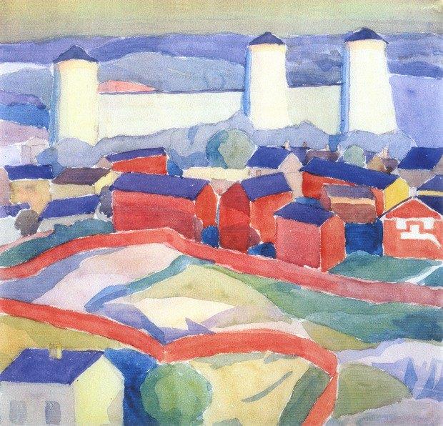 «Пейзаж з червоними будинками», 1911. Акварель, папір.