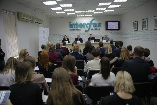 Журналисты и гости в зале пресс-центра Интерфакс-Украина