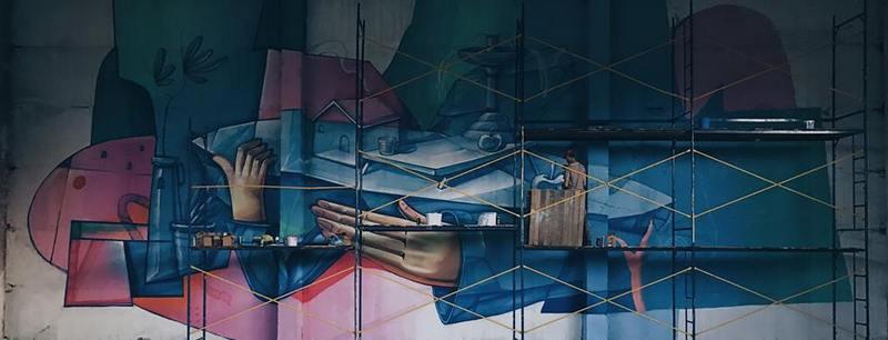 Мурал «Стеклоград», граффити-художники KickIt