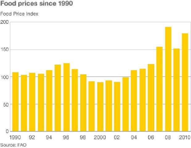 С начала 2000-х цены на продовольствие в мире удвоились, согласно данным Продовольственной и сельскохозяйственной организации ООН