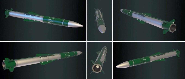 Візуалізація зенітної ракети ЗРС 'Кільчень' з різних ракурсів