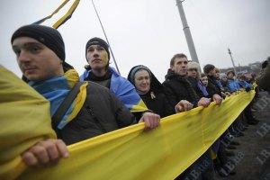 Берега Днепра соединили двухсотметровым флагом Украины