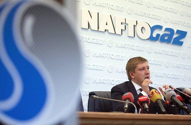Глава Нафтогаза Андрей Коболев во время пресс-конференции в Киеве