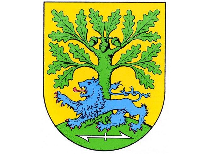 Герб комуни Ведемарк (Нижня Саксонія). Під ногами лева міститься зображення «Вольфсанґеля»
