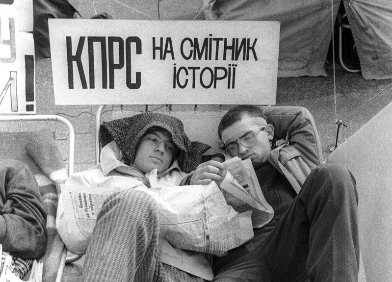 Студентське голодування на Хрещатику. Фото 1990 р