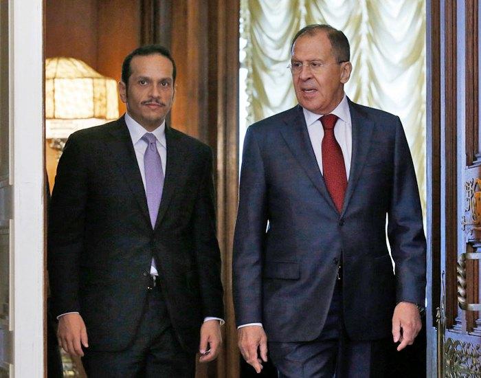 Встреча министра иностранных дел РФ Лаврова и министра иностранных дел Катара Шейха Аль-Тани в Москве, 10 июня 2017.