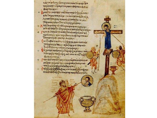 Мініатюра із Хлудовського псалтиря(Византія, приблизно 850 ): алегоричне зображення іконоклазму