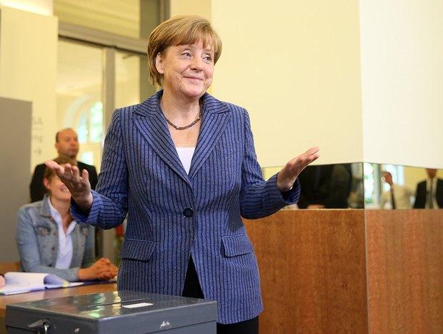 Ангела Меркель в день выборов