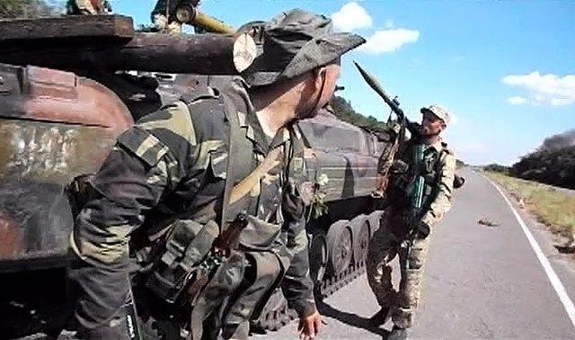 Боевики под Металлистом во время боя