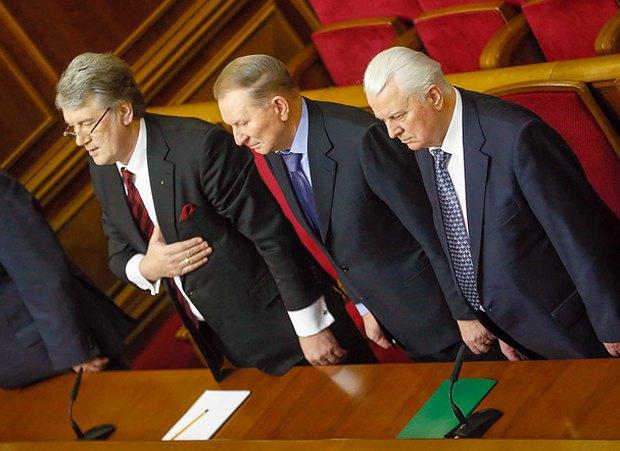 Виктор Ющенко, Леонид Кучма и Леонид Кравчук на сессии парламента, 28 января 2014 г.