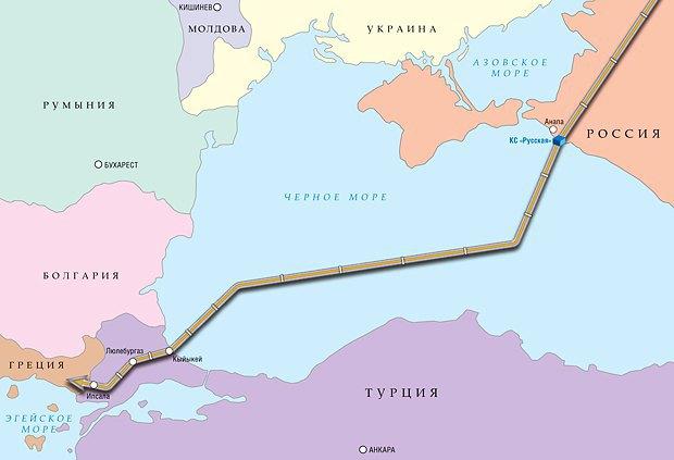 Планируемый маршрут газопровода, который планировалось проложить по дну Чёрного моря из Анапского района в Турцию.