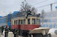У Києві на Подолі загорівся снігоочищувальний трамвай