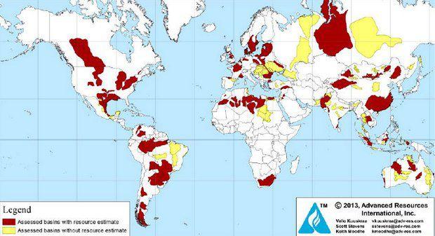 Запасы сланцевого газа и нефти. Красным указаны районы с проведенной оценкой запасов, желтые - без оценки.