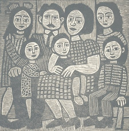 Батько, мати та їх діти. 1960-ті. Ліногравюра. 14,8х14, 8