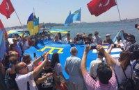 В Стамбуле развернули крымскотатарский флаг в поддержку деоккупации Крыма