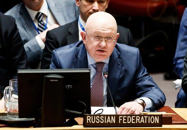 Постпред России при ООН Василий Небензя во время заседания совбеза ООН, 09 апреля 2018.