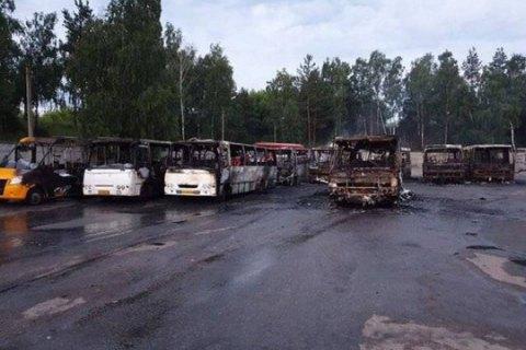 На стоянке под Киевом ночью сгорели 10 маршруток