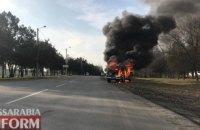 В Ізмаїлі під час руху загорівся поліцейський автомобіль