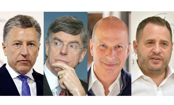 Слева-направо: Курт Волкер, Уильям Тейлор, Гордон Сондленд и Андрей Ермак