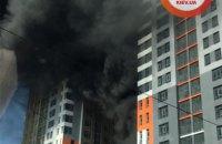 В Киеве горел дом в недостроенном ЖК на Бережанской (обновлено)