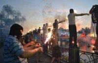 Ультрас влаштували у Харкові вогняне шоу на пам'ять про загиблих солдатів
