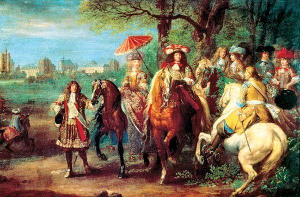 А. ван дер Мейлен. Людовик XIV с супругой Марией Австрийской на променаде в 1669 году