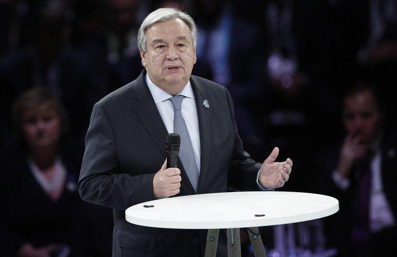 Генсек ООН Антониу Гутерриш во время открытия Парижского форума мира, 11 ноября 2018 г.