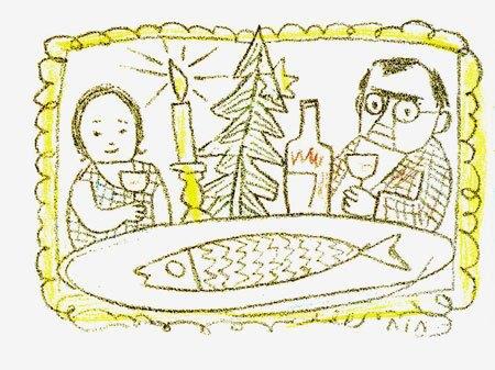 Новорічна листівка. 1970-ті. Папір, кольоровий лінорит. 10,4х15