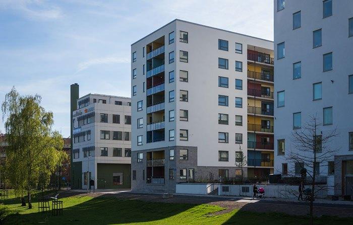 Застройка в микрорайоне Квиллебэкен, новый район в центре Гётеборга, Швеция.